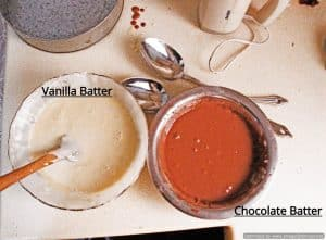 Batters for zebra marble cake recipe