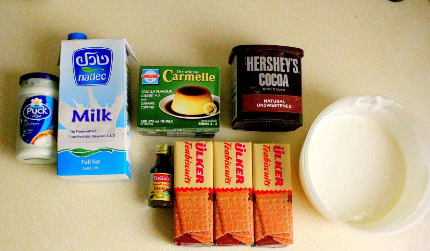 ingredients for caramel tiramisu