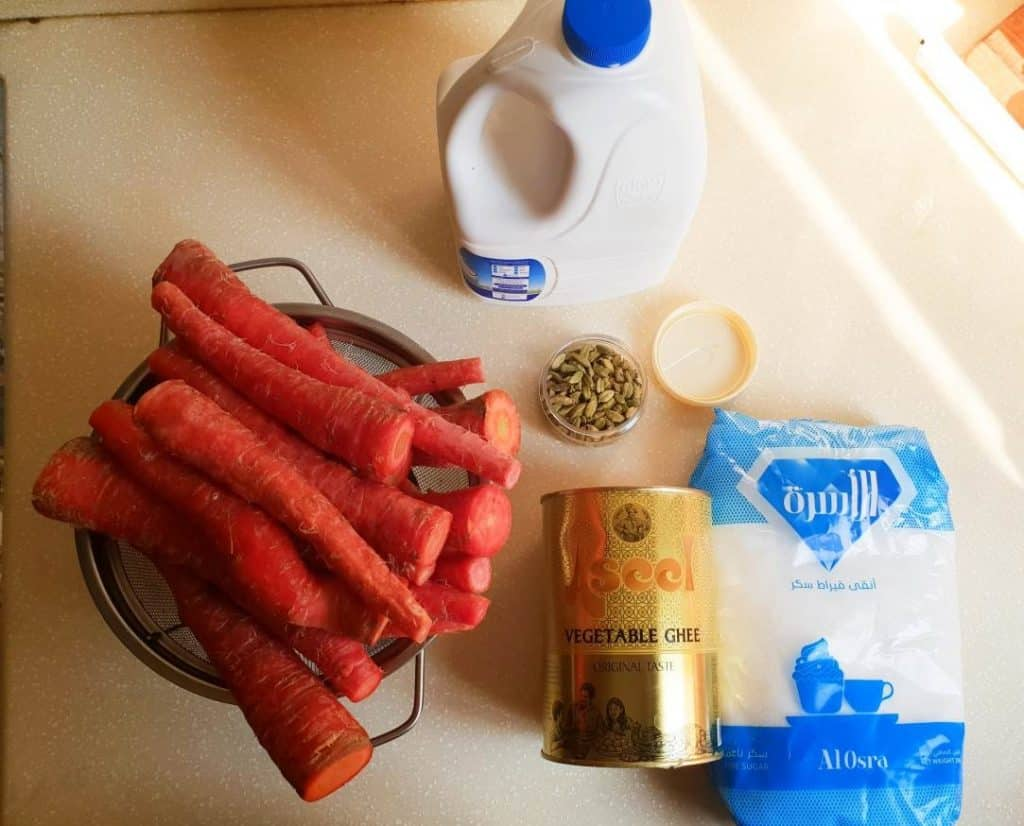 ingredients for gajar ka halwa