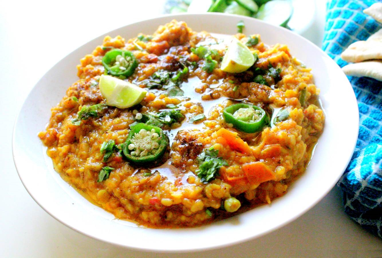 Masala moong masoor daal (yellow and red lentils)