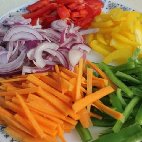 VEGETABLES FOR THE CHICKEN FAJITA WRAP RECIPE