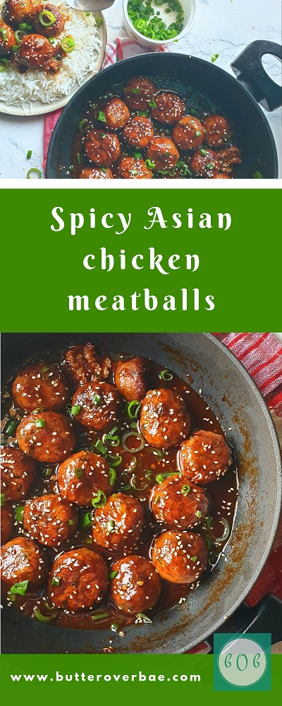 spicy asian chicken meatballs pinterest pin
