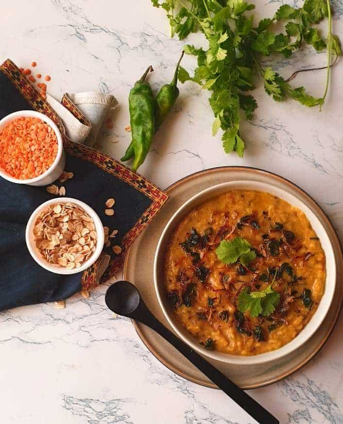 Tangy Savory Oatmeal and Lentil