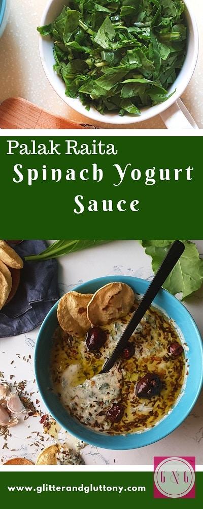 palak raita - spinach yogurt dip