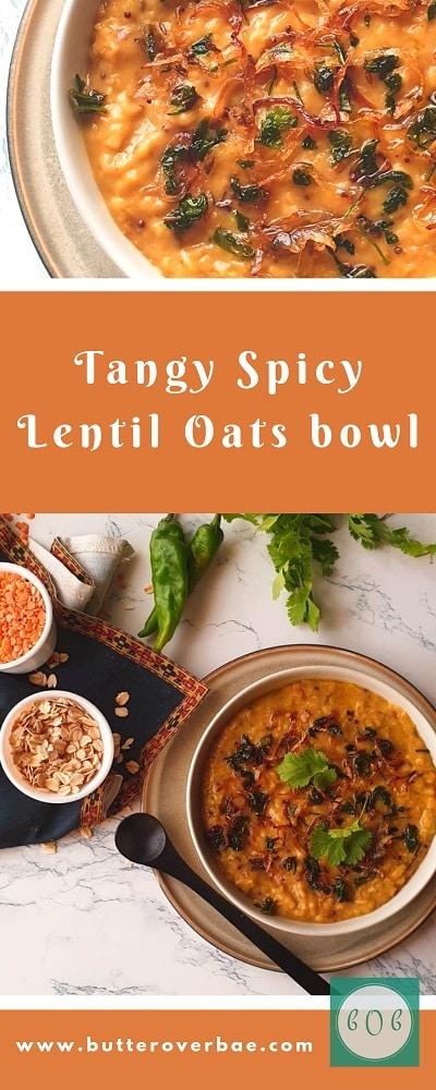 tangy lentil oats pinterest pin