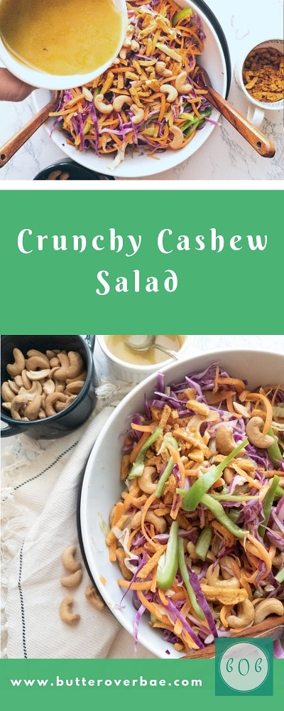 Pinterest pin for crunchy cashew salad with honey