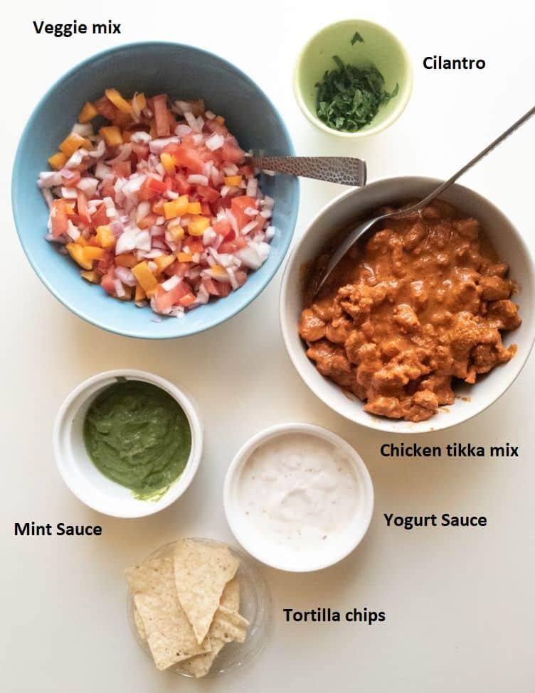 components breakdown needed to make chicken tikka nachos