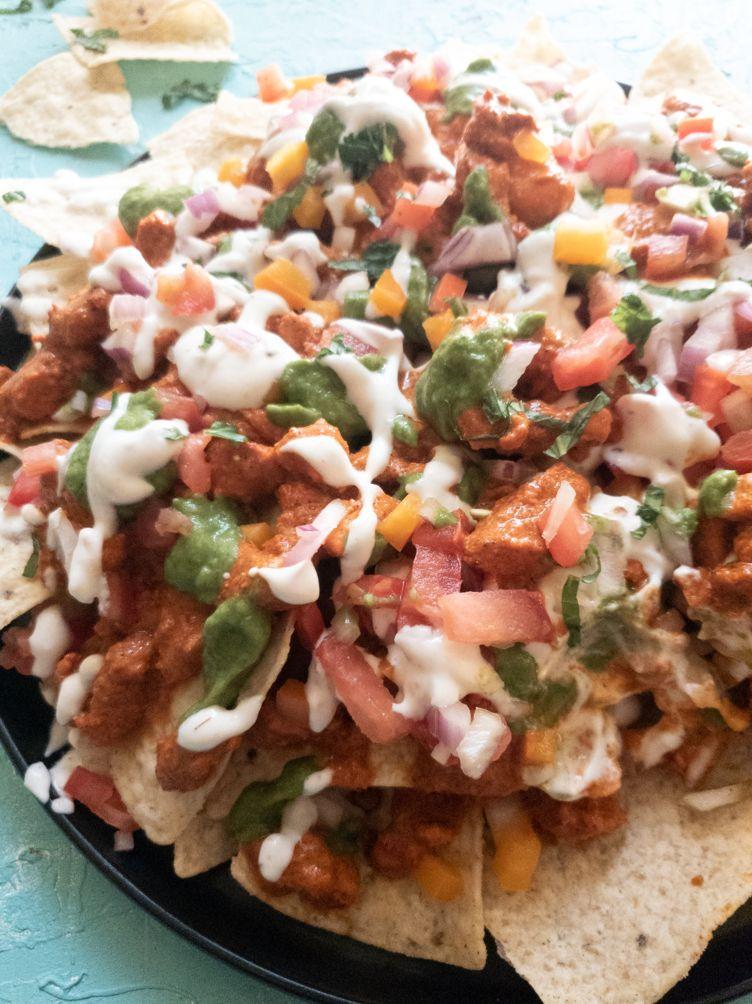 loaded chicken tikka nachos