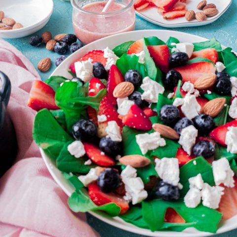 spinach and berry salad side view