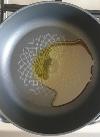 black wok with oil in it