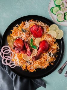 Pakistani chicken tikka biryani