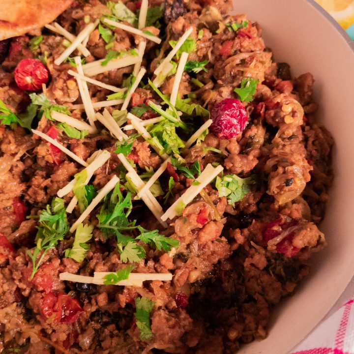 Khara masala beef keema (whole spice beef mince curry)