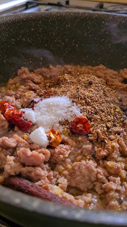 whole spices and salt thrown into a pot of browned mince meat or keema