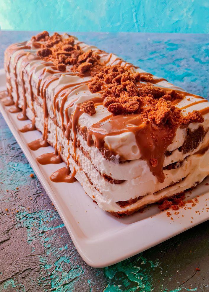 a log of lotus ice cream cake