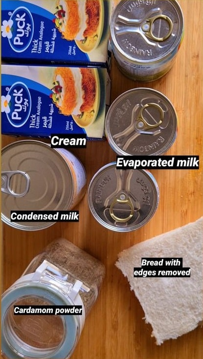 ingredients shown needed to make the kulfi