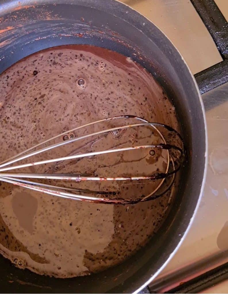 chocolate sauce simmering in a sauce pan