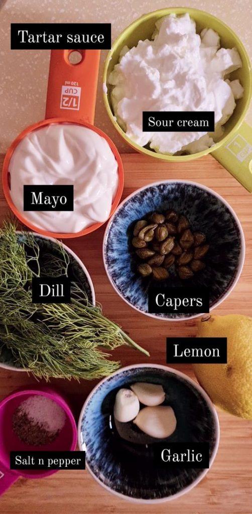 ingredients shown for tartar sauce