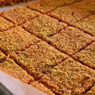 anday ka halwa cut up in squares