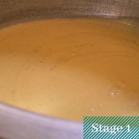a creamy batter in a pot