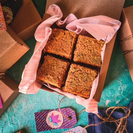 anday ka halwa cut in bars and wrapped in a box
