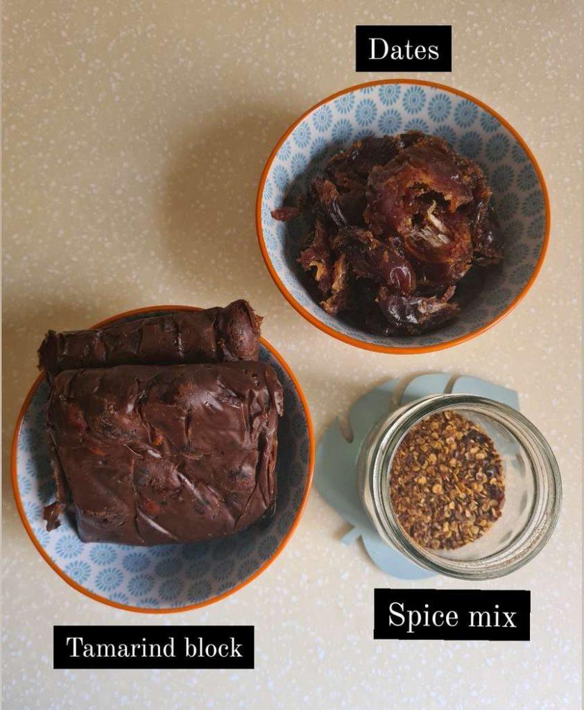 ingredients for sweet tamarind chutney