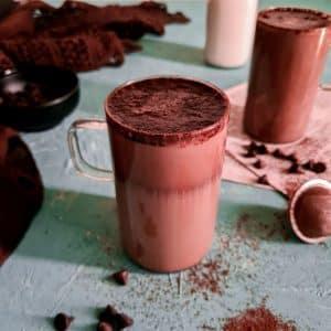 pakistani whipped mocha latte in glass mug