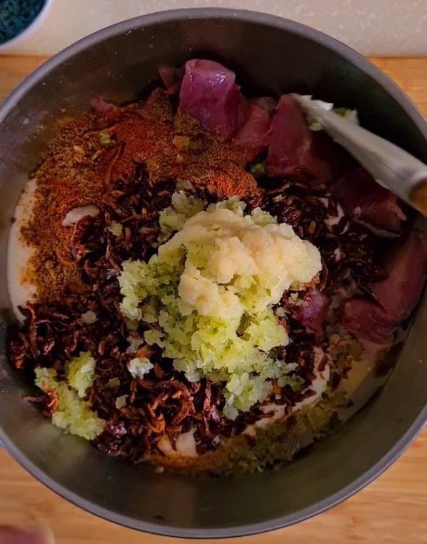 all beef marination ingredients added in a bowl