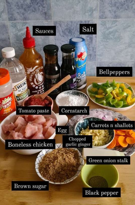 an ingredient shot of all the ingredients needed to make sweet and sour chicken